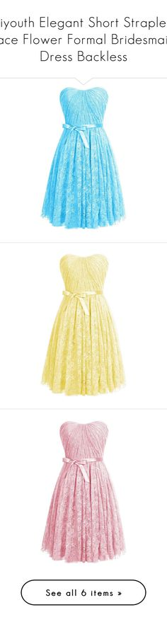 """""""Diyouth Elegant Short Strapless Lace Flower Formal Bridesmaid Dress Backless"""" by xxxjackerxxx ❤ liked on Polyvore featuring dresses, short dresses, short blue dresses, blue lace dress, blue bridesmaid dresses, short lace dress, short formal dresses, bridesmaid dresses, formal cocktail dresses and formal dresses"""