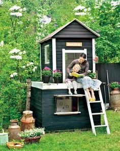 Amazing Playhouse in a Finland Family Garden -do you have a DIYer in the family who can create one of these? Imagine it appearing in the backyard on Xmas, as if brought by santa himself. Kids Playhouse Plans, Outside Playhouse, Backyard Playhouse, Build A Playhouse, Cubby Houses, Play Houses, Beautiful Home Gardens, Home Garden Design, Family Garden