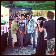 A rad moment from the #ORshow BBQ Bash - Sanuk's JK, Chris Sharma and #prAna's Beaver invade the photobooth via Sanuk