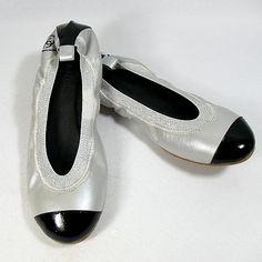 Silver & black Chanel flats