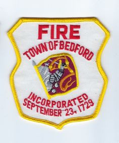 Bedford (Middlesex County) MA Massachusetts Fire Dept. patch - NEW!