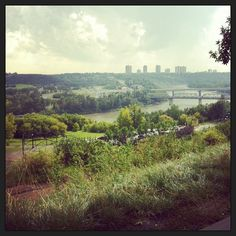 A view of downtown Edmonton, Alberta across the river valley