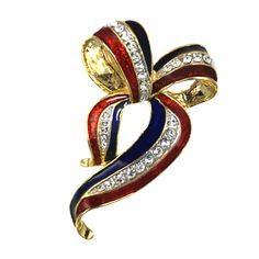 Support Our Troops Brooch/Pin - Support our troops!   Gold-plate pin in the shape of a bow, enamel with diamond like Swarovski crystal ribbon.   Price: $20.00  http://www.starsandstripesproducts.com/support-our-troops-brooch-pin/