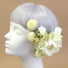 ヘッドドレス・髪飾り/芍薬とマムのヘアピック(クリームグリーン) - ウェディングヘッドドレスと花髪飾り airaka