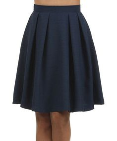 Look at this #zulilyfind! Navy Pleated Skirt by Le Lis Collection #zulilyfinds