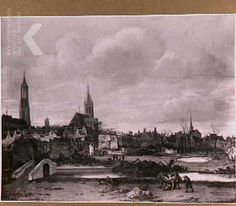 na oktober 1654 - Vosmaer, Daniël - View of Delft after the explosion oif the gunpowder magazine - 73x113 cm Gemeentehuis te Delft