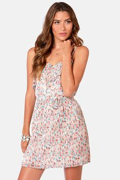 LuLu's Floral Report Pleated Print Dress in Pink and Blue Floral.  $36.00