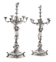 A pair of French silver-plated Enfant Bouret pattern six-light candelabra, Christofle, Paris, circa 1850 Vintage Silver, Antique Silver, Silver Candelabra, Baroque, Rococo, Urn, Art Nouveau, Silver Plate, Plating