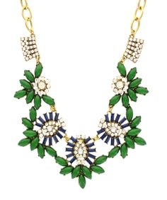 Antique Gold & Emerald Station Statement Bib Necklace | Daily deals for moms, babies and kids