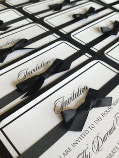 Classic black and white wedding invitation