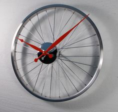 Bicycle Wheel Clock by Vyconic on Etsy, £40.00 findin g all sorts of wonderful  & unique items for FATHERS DAY on Etsy this is a real winner