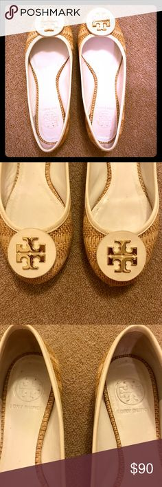 Shop Women's Tory Burch Tan White size Flats & Loafers at a discounted  price at Poshmark.