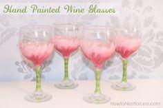 hand painted wine glasses fromhttp://howtonestforless.com/2012/06/07/painted-flower-wine-glasses/