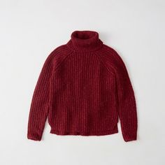 Abercrombie & Fitch Shaker Turtleneck Sweater ($68) ❤ liked on Polyvore featuring tops, sweaters, red, turtleneck sweaters, turtleneck top, red sweater, raglan top and heavy sweater