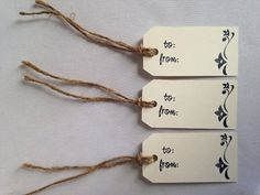 Hand Stamped  Gift Tags- Set of 10 Cream and Black Tags on Etsy, $7.50