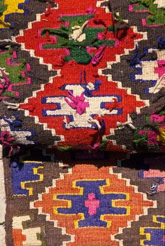 Single-Faced Kilims, Uzbek textiles, Bukhara. Kilims are flat tapestry-woven carpets or rugs produced from the Balkans to Pakistan. Kilims can be purely decorative or can function as prayer rugs. (V)