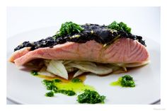 Confit salmon with fennel and spinach