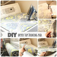I'm feeling creative today - this fantastic DIY Dryer Top Ironing Pad looks super easy and has a cabinet liner sewed to the bottom to hold it in place. Of course, using it would mean that I'd have to keep the top of my machines clean. Diy Ironing Board, Ironing Pad, Sewing Hacks, Sewing Projects, Diy Projects, Sewing Ideas, Sewing Tips, Sewing Tutorials, Cabinet Liner