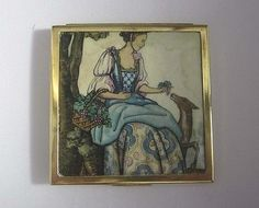 Vintage Art Deco Square Brass Picture Top Compact of Georgian Lady & Fawn…