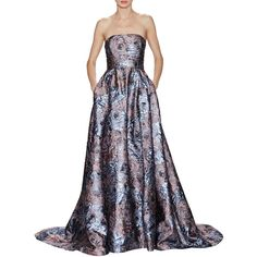Badgley Mischka Couture Rose Jacquard Strapless Gown (€1.900) ❤ liked on Polyvore featuring dresses, gowns, blue, blue dress, badgley mischka gown, blue gown, blue evening dress und strapless dress