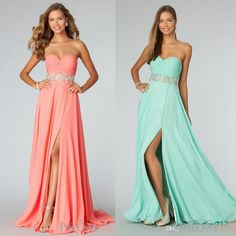 2015 Hot Sale Coral Strapless Front Slit Prom Dresses Chiffon Rhinestone Backless Evening Gowns Mint Summer Homecoming Beach Party 90270 from Cinderelladress,$101.16 | DHgate.com