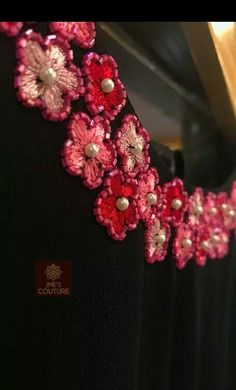 Best 11 Black kurty neck design Details and rate 9895473878 Embroidery On Kurtis, Hand Embroidery Dress, Hand Embroidery Videos, Embroidery On Clothes, Embroidery Fashion, Ribbon Embroidery, Simple Embroidery Designs, Embroidery Flowers Pattern, Black Blouse Designs