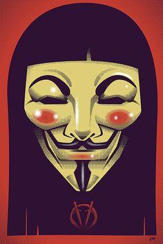V For Vendetta 16 x 24 signed original print by trythemonkey, $40.00