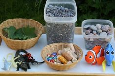 Ocean Sensory Bin.  For some extra fun, set out the goods, and let the KIDS create the bin. (happy hooligans)