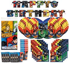 DC Comics Justice League Superheros Birthday Party Supplies Pack Bundle serves 16 ; Plates, Cups, Napkins, Banner, & Table Cover - http://www.partythings.com/dc-comics-justice-league-superheros-birthday-party-supplies-pack-bundle-serves-16-plates-cups-napkins-banner-table-cover.html