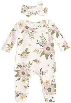 Adorable Tesa Babe Meadow Flower Cotton Romper & Headband Floral, summer, spring, outfits, clothes, baby girl, newborn, coming home outfit, stylish, kids, afflink #kidoutfits #babygirloutfits
