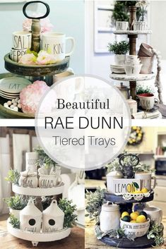 When you dream of the perfect tiered tray what does it look like? Is it filled with everything you love? Does it have greenery? Then you want won't to miss these popular Rae Dunn pottery and farmhouse style tiered trays. Fill your creativity with nine b Table Farmhouse, Country Farmhouse Decor, Farmhouse Style Kitchen, Modern Farmhouse Kitchens, New Kitchen, Kitchen Decor, Rustic Cottage, Kitchen Ideas, Diy Kitchens