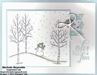 Handmade Christmas card using Stampin' Up! products - White Christmas Set, Christmas Messages Set, Banner Punch, All Is Calm Specialty Designer Series Paper, Basic Metal Buttons, Baker's Twine, and Dazzling Diamonds Stampin' Glitter. By Michele Reynolds, Inspiration Ink, http://inspirationink.typepad.com/inspiration-ink/2014/08/white-christmas-snowman-fun.html.