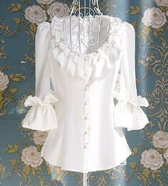 Vintage Half Sleeves Single Breasted Flounce Blouse For Women Blouse Dress, Dress Up, Wrap Blouse, White Ruffle Blouse, White Tunic, Ruffle Collar, Blue Blouse, Floral Blouse, White Lace