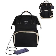 c564da841564 Black with USB Nappy Backpack, Backpack Bags, Fashionable Diaper Bags,  Travel Items,
