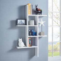 This DANYA B Cantilever White MDF Floating Wall Shelf is perfect for holding daily essentials and displaying decorative accents. Oak Wall Shelves, Shelves In Bedroom, Floating Wall Shelves, White Shelves, Wall Shelves Design, Display Shelves, Shelving, Shelf Wall, Cube Shelves