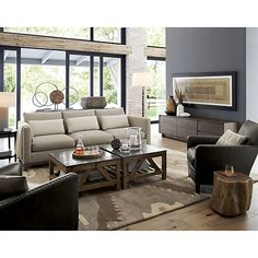 Taraval 3-Seat Sofa with Oak Base   Crate and Barrel