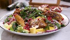 Honey-glazed guinea fowl with pomegranate and pineapple : : : This recipe is certainly exotic – honey and five-spice chilli guinea fowl served with a fresh fruit salsa splashed with soy sauce. If you can source one, serve in a banana leaf to impress.
