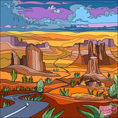 Color By Numbers, Paint By Number, Happy Colors, Nevada, Monument Valley, Coloring Pages, Colouring, Drawings, Artwork