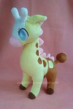 """Character: Girafarig (Pokemon) Materials: Minky. Size: Approx. 11"""" tall to the top of the head. Ahh, I'm pretty pleased with how she's turned out~! She's a long overdue trade for Zareidy who has be..."""