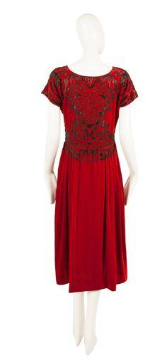 Women's Paul Poiret Haute Couture Red Silk Velvet Dress, circa 1925 For Sale