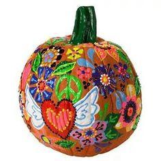 Hippie theme hand painted pumpkin.