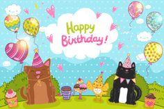 Happy Birthday. Cute animals by kostolom3ooo on Creative Market