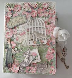 Graphic45 Botanical Tea scrapbooking Envelope Mini Album with Flaps Cover. Seam binding closure with Shabby Chic Ornate Metal Keys and hole - by Anne Rostad