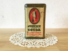 1906 Justice Cocoa Tin / William H. Baker by RedRavenCollectibles