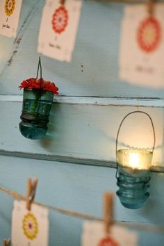 Cool tea lights made from old glass insulators