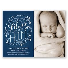 May the lord bless and keep him; baptism or christening invitation from Invitations by Dawn.  #dedication #christening #baptism