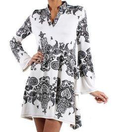 Vintage Black 3/4 Sleeve Tunic Dress
