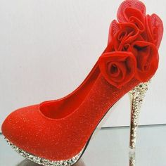 Shiny Flower Embellished Round Closed Toe Super High Stiletto Red PU Wedding Pumps