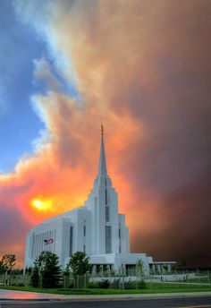 Rexburg, ID Temple with Smoky/Cloudy background by D. Garding, via Flickr