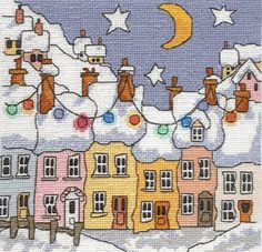 For your consideration: Michael Powell Cross Stitch Street CP 1 - CHART ONLY - Excellent Condition, in original package, no marks or rips. Street is one of the many delightfully whimsical houses and village scenes from artist Michael Powell. It is loaded with crooked lines and shapes that create the whimsey and interest for this charming, colorful little village street decorated for Christmas with strings of lights. The piece is stitched in whole crosses, which I really like - those 3/...